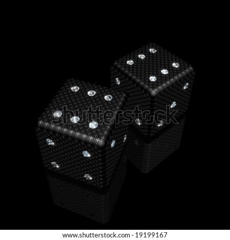 pair of black dice with sparkles diamonds and fleur-de-lis ornament