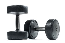 Pair of black dumbbells isolated on a white background.