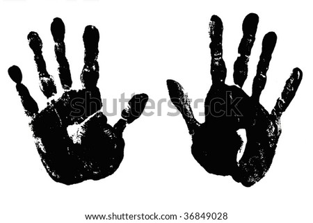 Pair of Black Handprints, right and left. - stock photo
