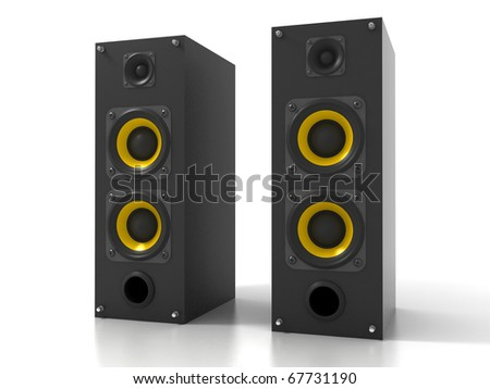 Pair of Black Loud Speakers Isolated on White