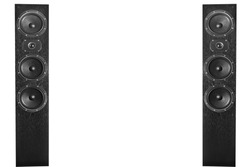 Pair of black music speakers isolated on white background