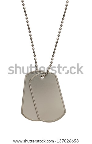 Pair of Blank Metal Tags Hanging on Chain. Isolated on a White Background.