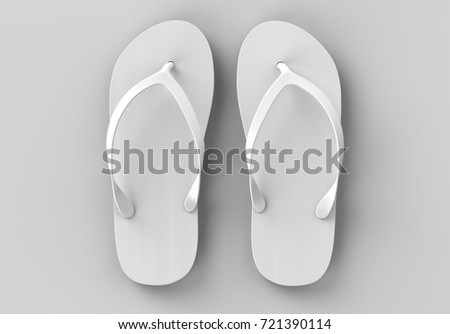 b743ace20defd4 Pair of blank white beach slippers