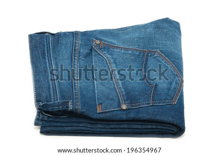 pair of blue jeans on a white background #196354967