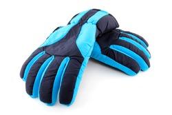 pair of blue ski gloves isolated on white background