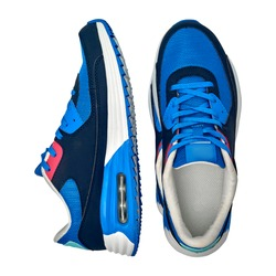 Pair of blue sport shoes on isolated on white background with clipping path. Blank new sneakers, copy space. Running shoes