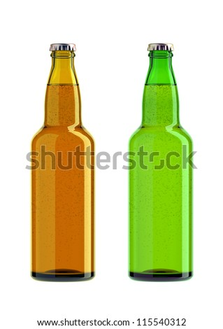 Pair of bottles of beer colored isolated on a white background