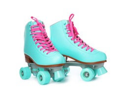 Pair of bright stylish roller skates on white background