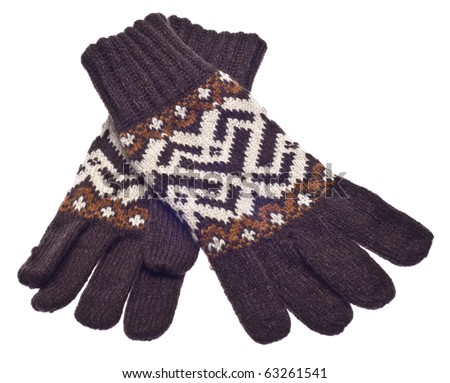 Pair of Brown Gloves for Winter Isolated on White with a Clipping Path.