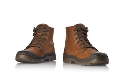 Pair of brown hiking boots,isolate on a white background