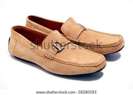 Pair of brown male loafers over white background