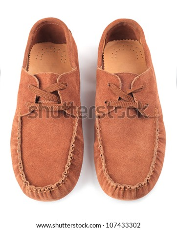Pair of brown male moccasins over white background