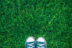 Pair of canvas shoes on green grass