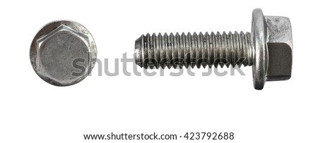 Pair of car wheel bolts isolated on white stock photo