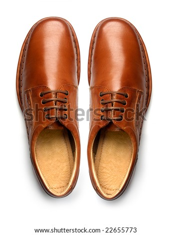 Pair of casual men's leather shoes, top view