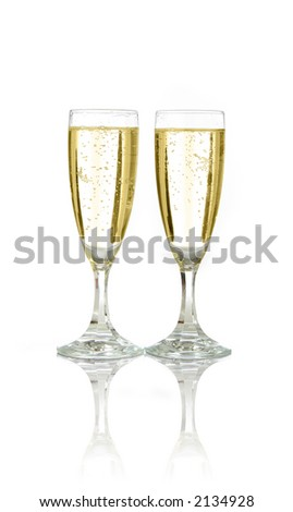 Pair of champagne flutes ready for celebration