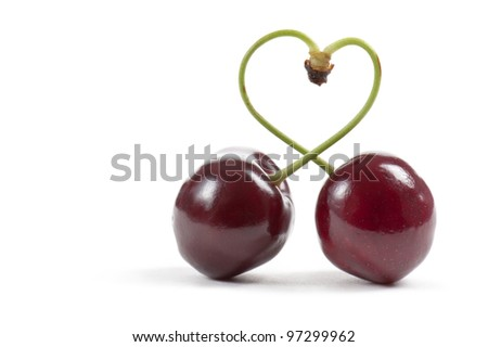pair of cherries with heart-shaped stem, on white background