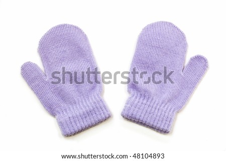 Pair of child size mauve mittens isolated on white background
