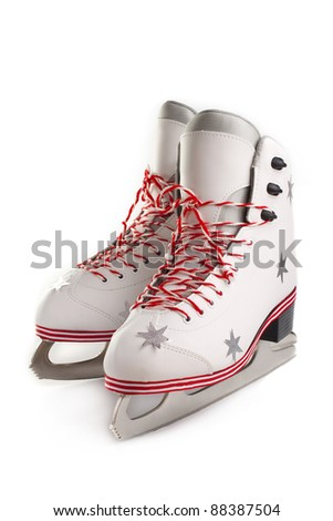 Pair of Christmas Figure Skates on white background