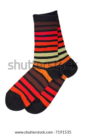 Pair of colorful socks, isolated on white background - stock photo