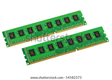 Pair of computer memory modules isolated on white background