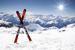 Pair of cross skis in snow