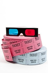 Pair of 3D glasses and rolls of movie tickets