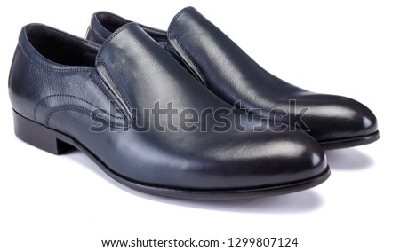 Pair of dark blue colour classical man oxford shoe isolated on white background #1299807124