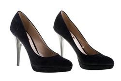 Pair of elegant high heel shoes on white background. Black footwear.