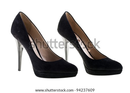 Pair of elegant high heel shoes on white background. Black footwear.