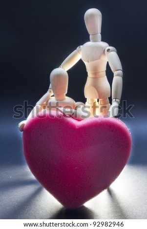 Pair of expressing his love dolls