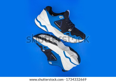 Pair of fashion colorful sneaker shoe on a blue isolated background
