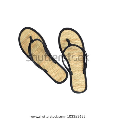Pair of female flip flop on white background. Isolated with clipping path