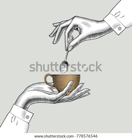 Pair of female hands with a coffee cup and spoon. Vintage engraving stylized drawing