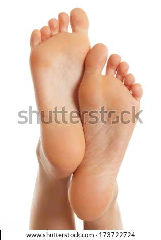 Pair of female legs isolated