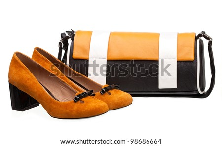 Pair of female shoes and handbag over white