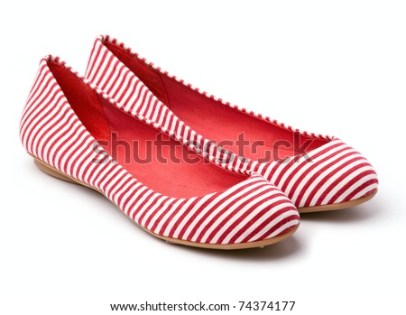 Pair of female summer shoe on white background - stock photo