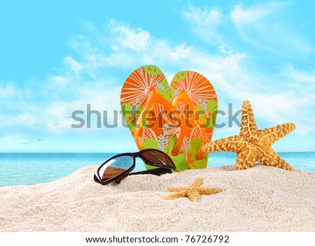 Pair of flip- flops in the sand with starfish