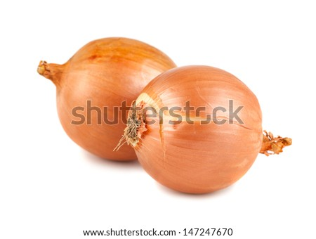 Pair of fresh golden onions isolated on white background