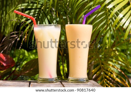 Pair of fruit shakes on the table