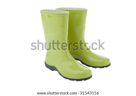 Pair of gardening boots isolated on a white background.