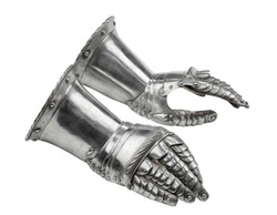 Pair of gauntlets for  armour medieval isolated on white background
