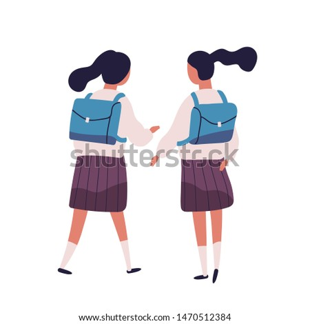 Pair of girls or twin sisters dressed in school uniform. Female students, pupils, classmates, classfellows or friends walking together and talking or chatting, back view. Flat illustration