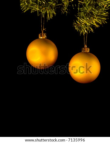 Pair of golden christmas ornaments hanging from christmas tree branch isolated on black background