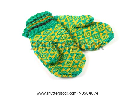 pair of green knitted gloves