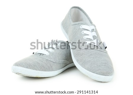 Pair of grey shoes isolated on white #291141314