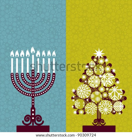 Pair of Happy Holidays! cards with Christmas tree and Channuka candles