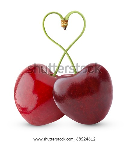 Pair of heart-shaped sweet cherries isolated on white