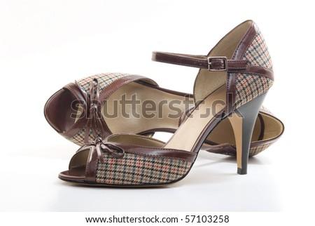 Pair of high heel peep toe shoes