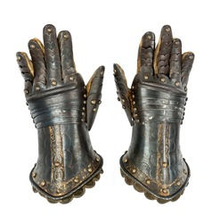 Pair of Knights armour gauntlets medieval ancient and original isolated with clipping path
